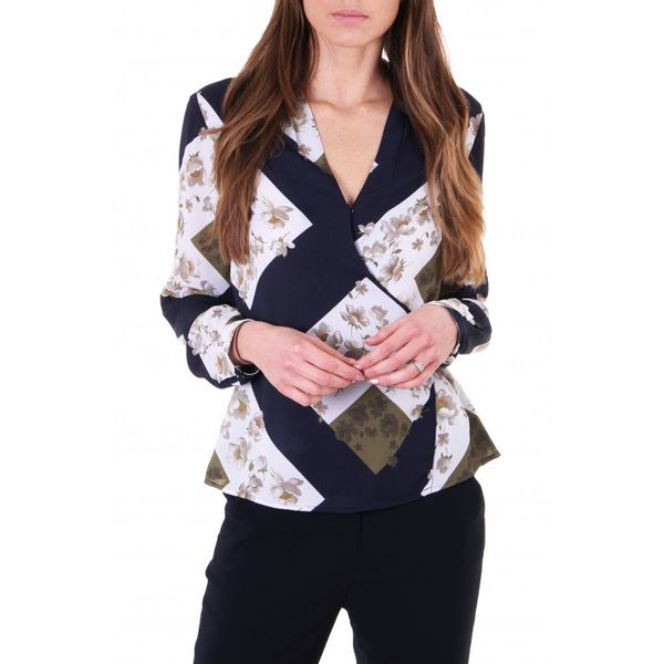 Ted Baker Womens Pheadra Pearl Printed Wrap Blouse In Blue