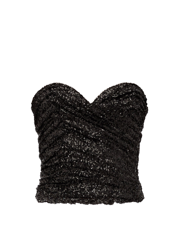 Saint Laurent Ruched Sequined Mesh Bustier Top In 黑色