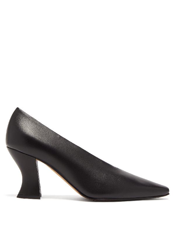 Bottega Veneta High-cut Spool-heel Leather Pumps In Black
