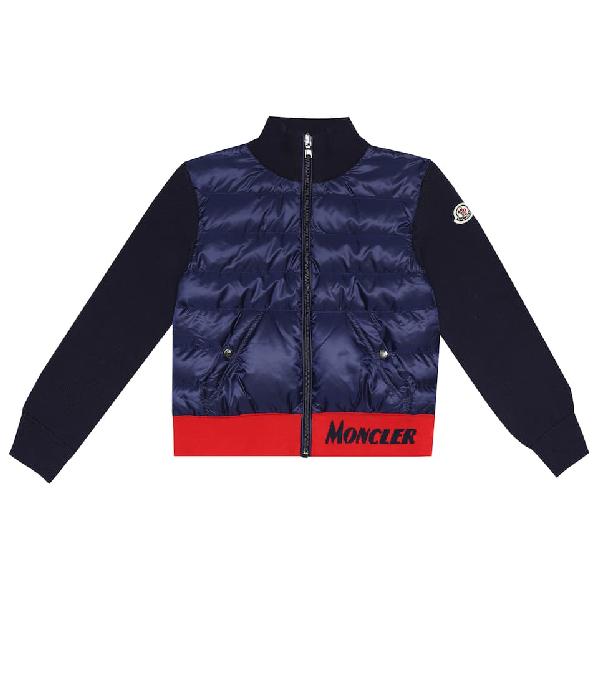 Moncler Kids' Cotton Knit & Nylon Down Jacket In Blue