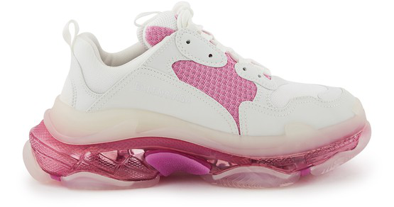 Balenciaga Triple S Clear Sole Logo-embroidered Leather And Mesh Sneakers In White