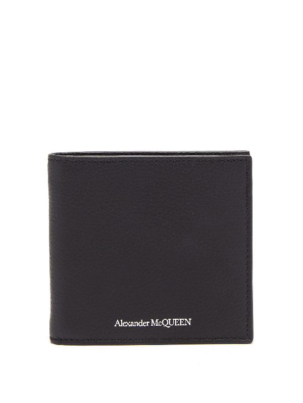 Alexander Mcqueen Logo Print Leather Clip Bifold Wallet In Black