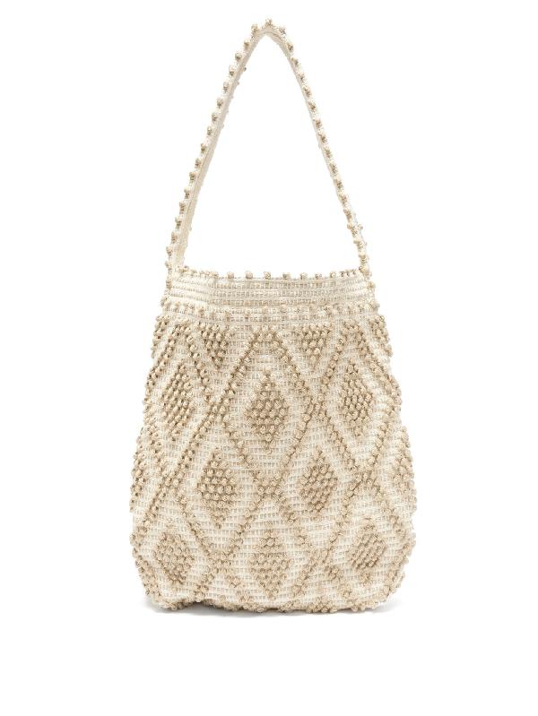 Antonello Tedde Linen And Cotton Diamond-weave Tote Bag In Beige Multi
