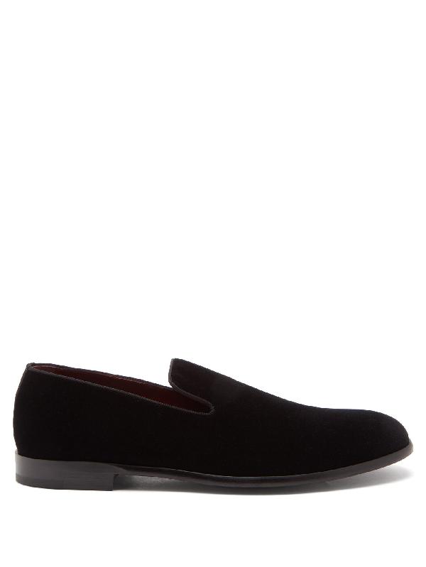 Dolce & Gabbana Classic Velvet Slip On Loafers In Black