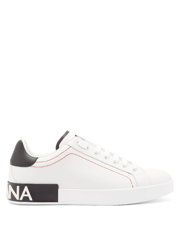 Dolce & Gabbana Dolce And Gabbana White And Black Portofino Sneakers In 8b926