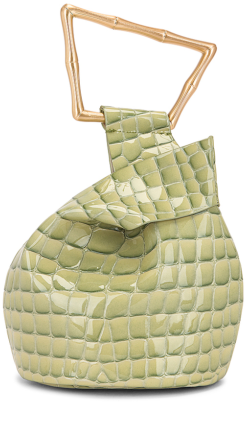 Cult Gaia 'mini Astraea' Croc Embossed Leather Bucket Bag In Green