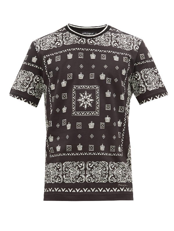 Dolce & Gabbana Cotton T-shirt With Bandana Print And Crowns In Black