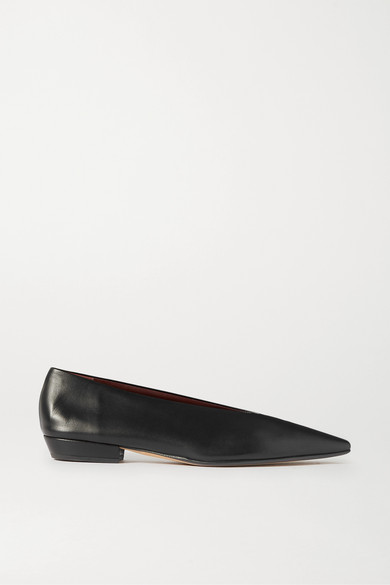 Bottega Veneta High-vamp Leather Ballet Flats In Black