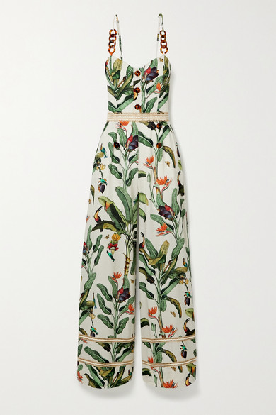 Patbo Embellished Crochet-trimmed Printed Voile Jumpsuit In White