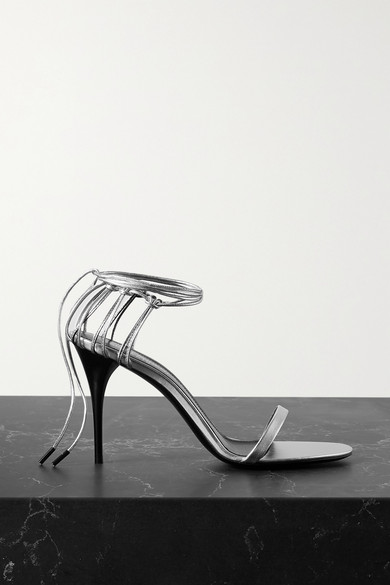 Saint Laurent Lexi 90mm Metallic Sleather Sandals In Silver