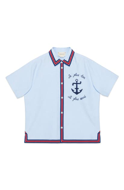 Gucci Kids' Light Blue Shirt With Frontal Embroidery