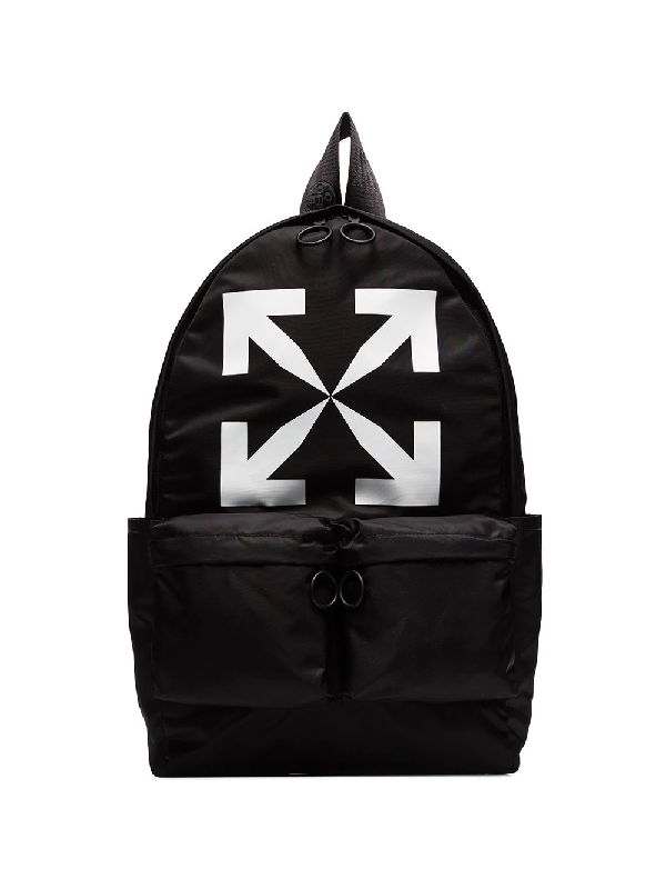 Off-white Arrow Backpack Backpack In Black Nylon In Black/white