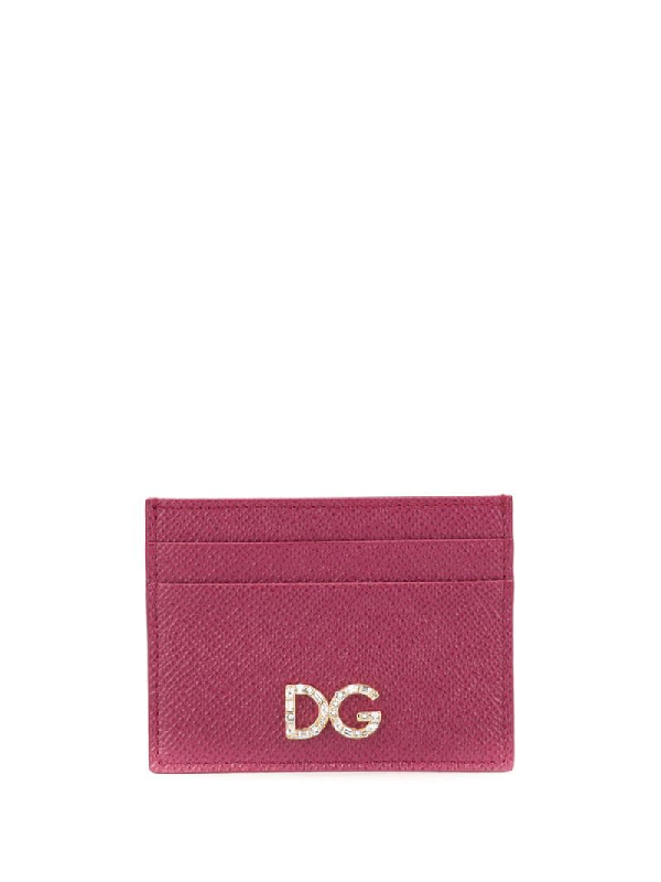 Dolce & Gabbana Rhinestone Logo Cardholder In Pink