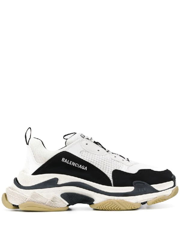 Balenciaga 黑色 And 白色 Triple S 运动鞋 In White