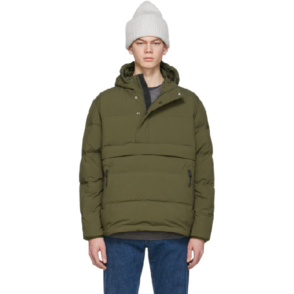 The Very Warm Green Anorak Puffer Jacket In Olive