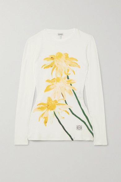 Loewe Floral-print Long-sleeved Cotton-jersey T-shirt In White