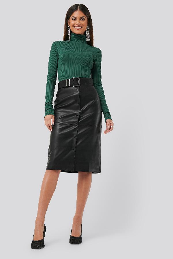 Chloé B X Na-kd Pu Button Midi Skirt Black