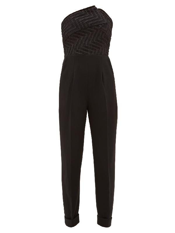 Roland Mouret Haye Chevron-bodice Crepe Jumpsuit In Black