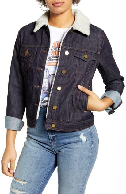 Articles Of Society Liz Fleece Lined Denim Jacket In Tupper