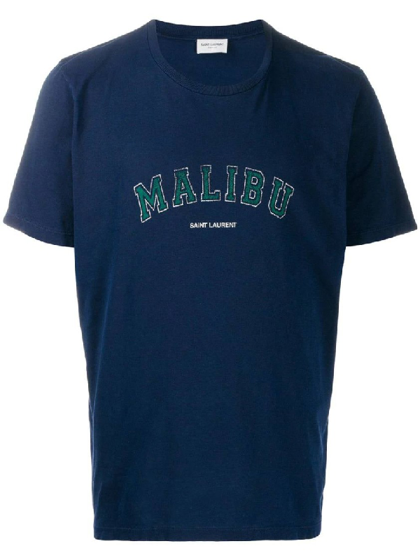Saint Laurent Logo Malibu Print Cotton Jersey T-shirt In 4282 Marine