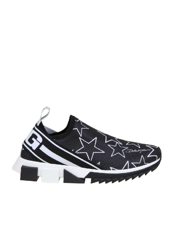 Dolce & Gabbana Mixed Star Print Sorrento Sneakers In Stretch Knit Fabric In Stelle/nero