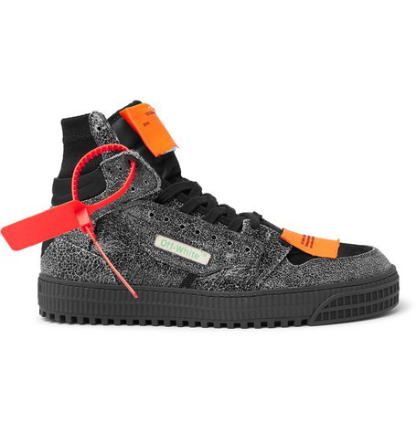 Off-white Off-court Textured-leather, Suede And Canvas High-top Sneakers In Melange Grey No Color