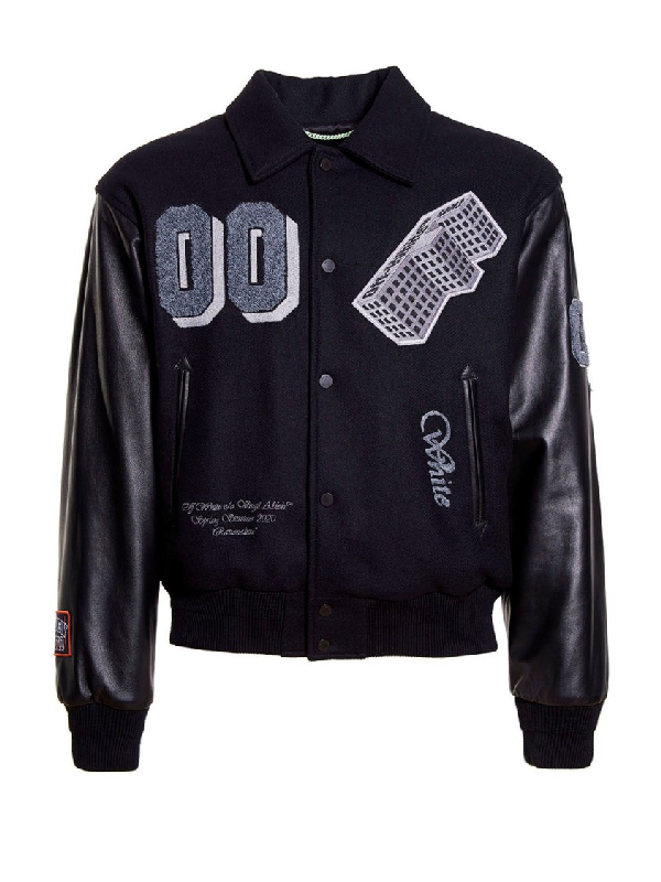 Off-white Black Leather 'golden Ratio' Varsity Jacket