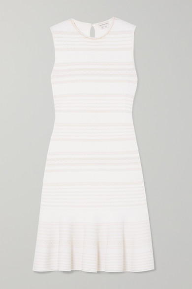 Alexander Mcqueen Ruffled Cable-knit Wool-blend Mini Dress In Ivory