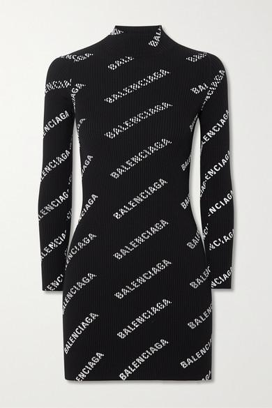 Balenciaga Black Women's All-over Logo Mini Dress