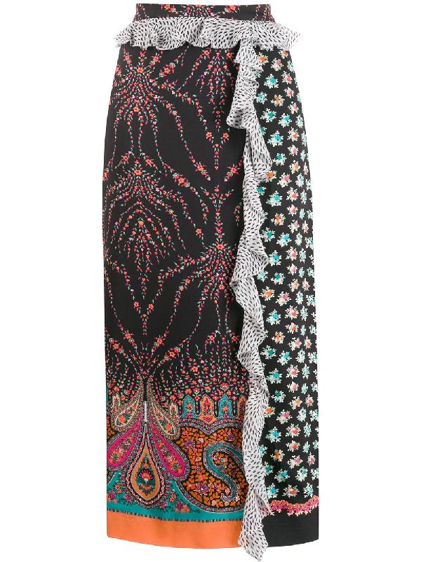 Liberty London Vita Mixed-print Satin Skirt In Black