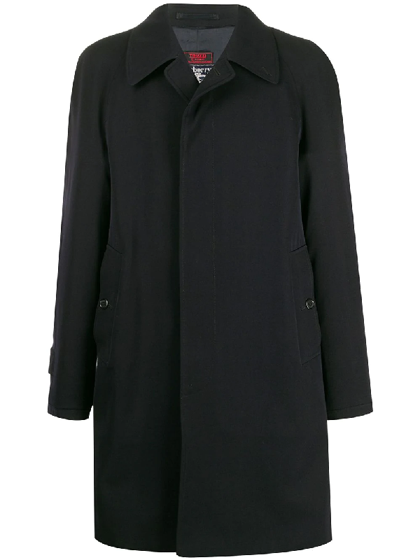 Burberry 1990s Notched Collar Coat In Blue