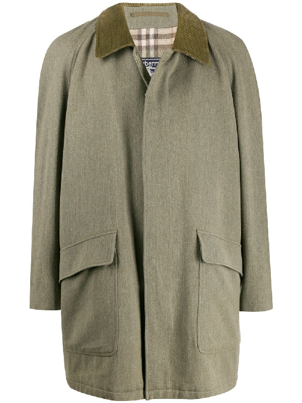 Burberry 1990s Cutaway Collar Coat In Green