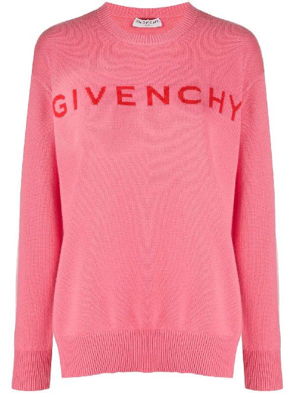 Givenchy Logo Intarsia Cashmere Sweater In Pink