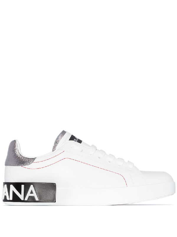 Dolce & Gabbana Dolce And Gabbana White And Silver Portofino Sneakers In 8b441 White