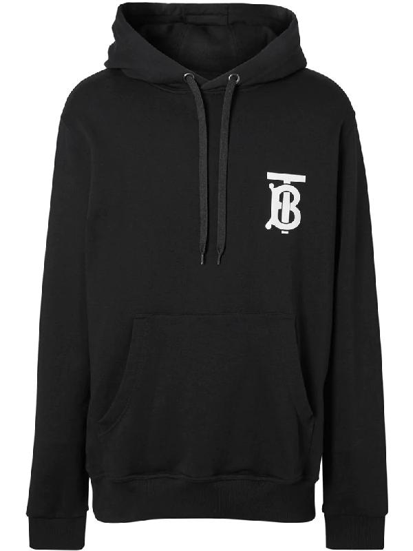 Burberry Tb Logo Cotton Jersey Sweatshirt Hoodie In Black