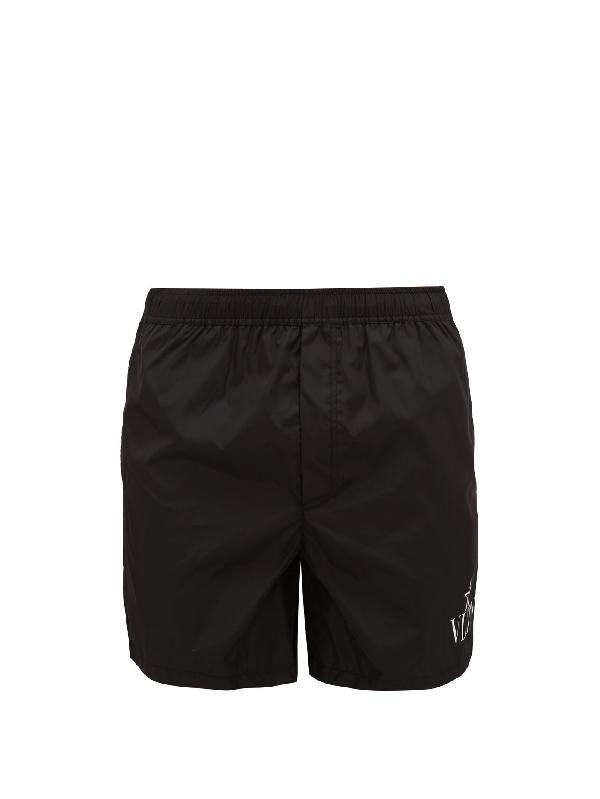 Valentino Short-length Logo-print Swim Shorts In Black