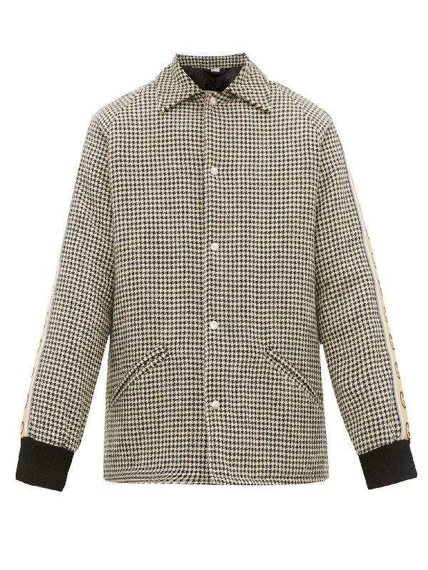 Gucci Vintage Cotton Blend Houndstooth Coat In Grey