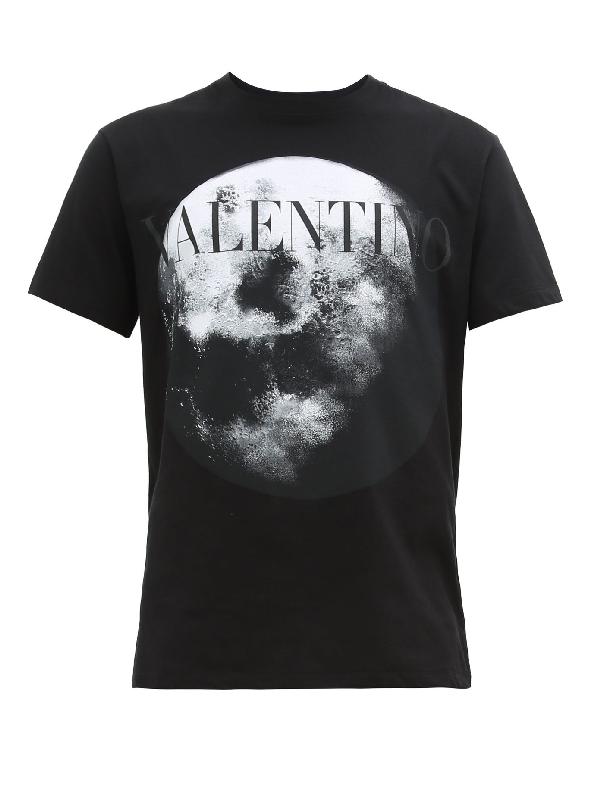 Valentino Logo Moon Dust Print Cotton T-shirt In 14e Nero/mo