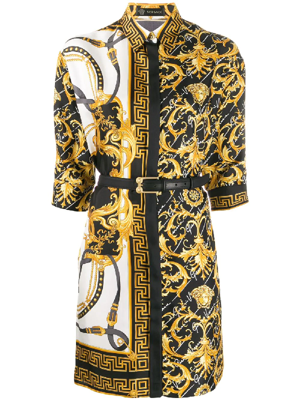 Versace Printed Silk Twill Mini Shirt Dress In 黄色