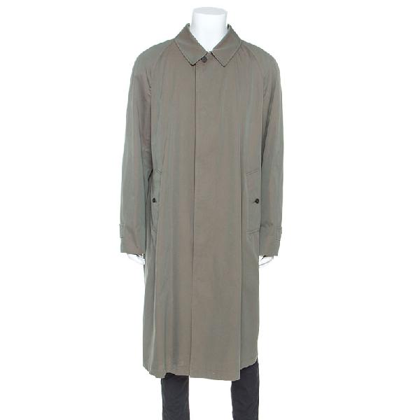 Burberry Chalk Green Cotton Twill Brighton Extra Long Trench Coat 3xl