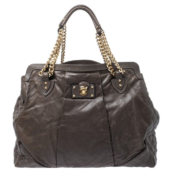 Marc Jacobs Dark Grey Mix Quilted Leather Classic East-west Tote