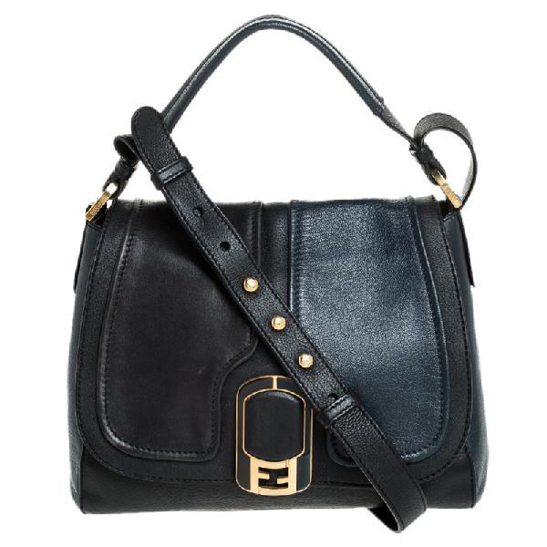 Fendi Blue/black Leather Silvana Top Handle Bag
