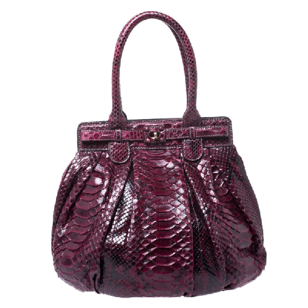 Zagliani Burgandy Python Small Puffy Bag In Burgundy