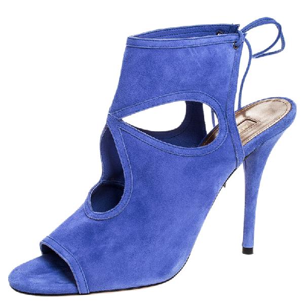 Aquazzura Blue Cutout Suede Sexy Thing Peep Toe Sandals Size 39.5