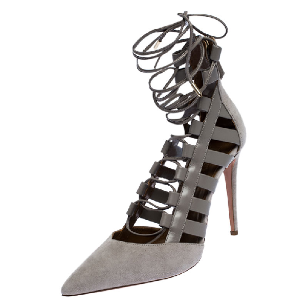 Aquazzura Aquazurra Grey Suede And Leather Amazon Cut Out Strappy Pointed Toe Pumps Size 40.5