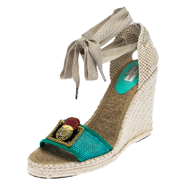 Marc Jacobs Multicolor Canvas And Mesh Wedge Espadrilles Ankle Wrap Sandals Size 39