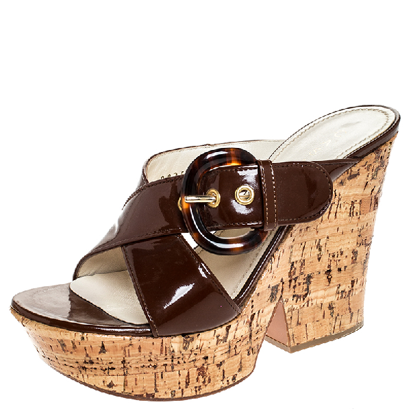 Casadei Brown Buckle Crisscross Patent Leather Cork Wedge Sandals Size 37