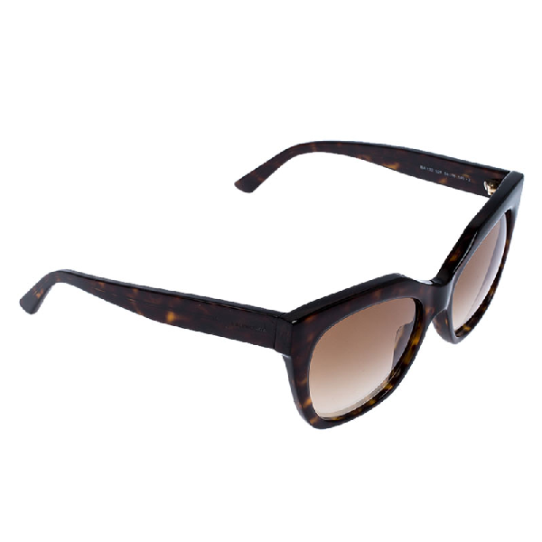 Balenciaga Dark Havana/ Brown Gradient Ba 132 Square Sunglasses