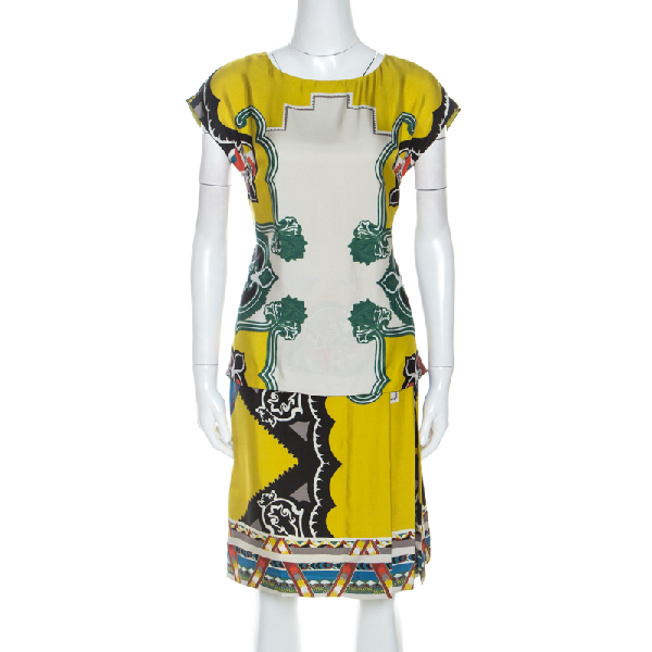 Etro Multicolor Printed Silk Overlay Pleated Detail Midi Dress S