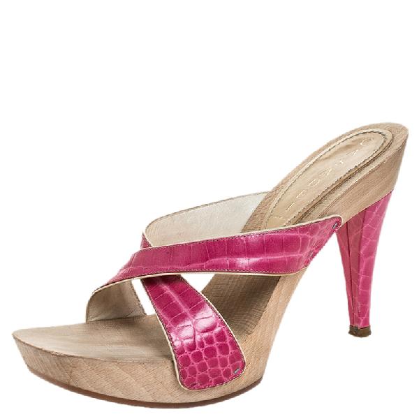 Casadei Pink Croc Embossed Leather Open Toe Platform Sandals Size 37.5